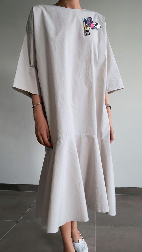 COTTON DROP WAIST DRESS