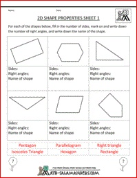 Printables Free Geometry Worksheets High School 1000 ideas about geometry worksheets on pinterest 2d shape properties free printable to identify right angles and number of sides