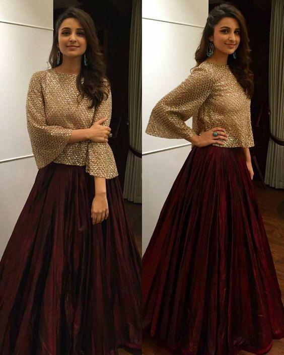 FatimaBi Plus size Fashion Indian Bolloywood Brown Gherdaar Party lehanga Dress #FatimaBi #LehegaCholi