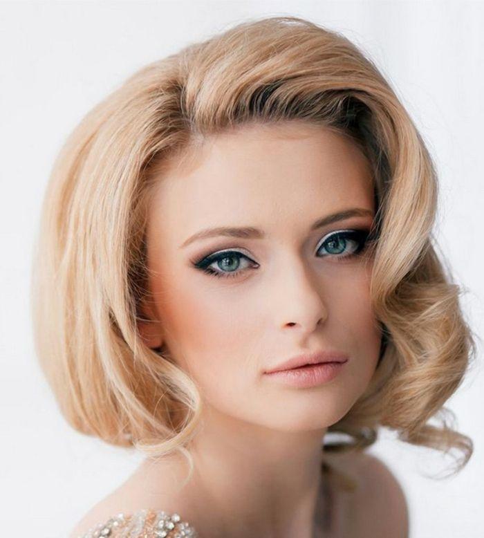 augen make up retro makeup tipps schminke für blonde frauen mit blauen augen lidstrich schatten