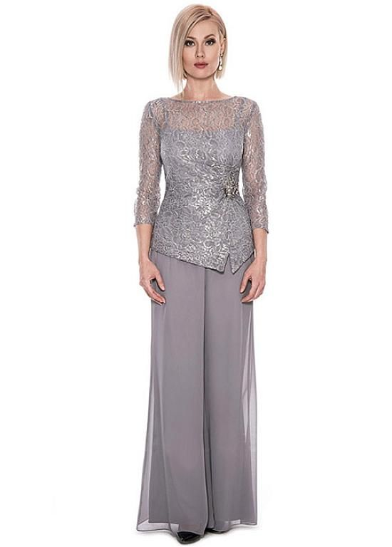 Buy discount Graceful Pant Suits Lace & Chiffon Bateau Neckline Full-length Mother Of The Bride Dresses at Dressilyme.com