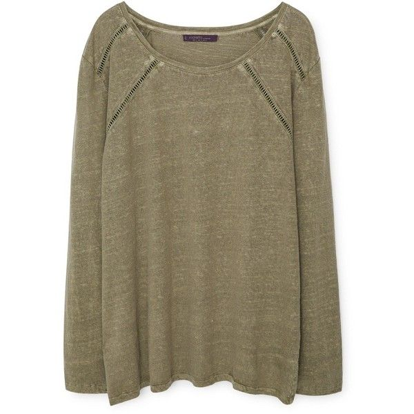 Violeta BY MANGO Trim Linen-Blend T-Shirt found on Polyvore featuring tops, t-shirts, long sleeve t shirt, mango tops, round top, brown tee and brown tops