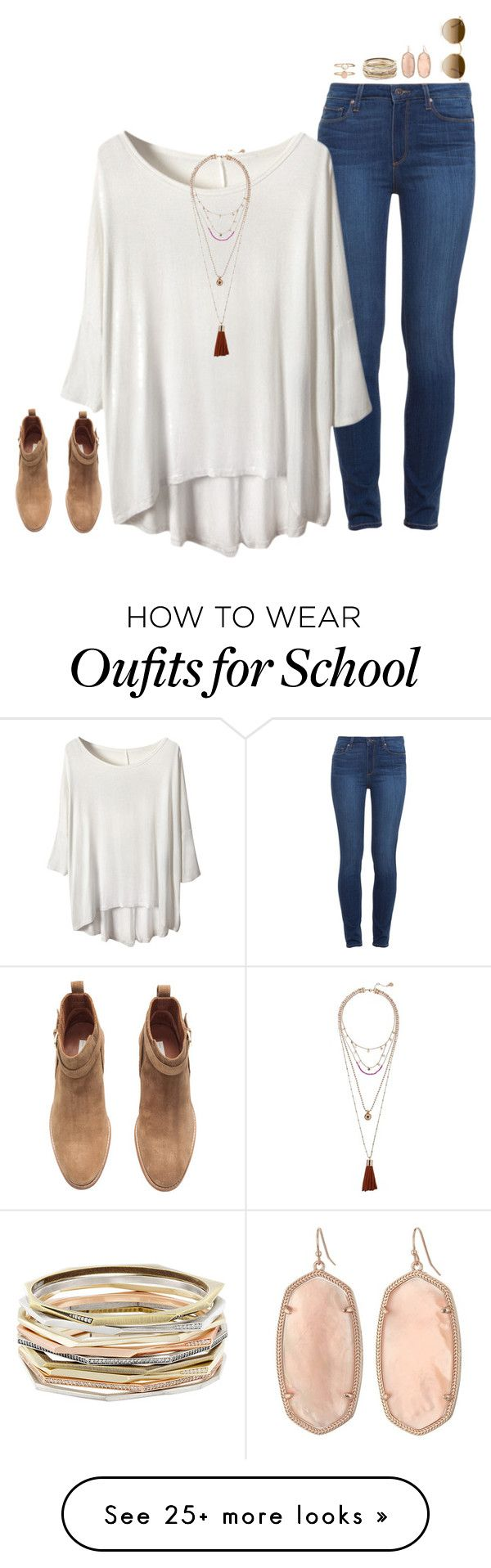 """AHH SCHOOL IN 2 DAYS!!!!!!!!!"" by jazmintorres1 on Polyvore featuring Paige Denim, H&M, Vince Camuto, Accessorize, Kendra Scott and Ray-Ban"