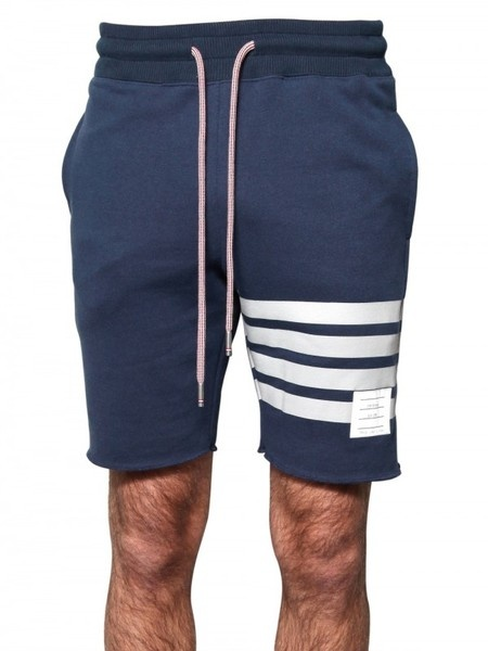 Thom Browne Raw Cut Cotton Fleece Shorts in Blue for Men (navy)