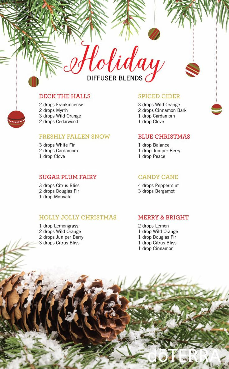 These are some of doTERRA's favorite Holiday Diffuser Blends! Diffuse these in the home to provide an atmosphere of the holidays.