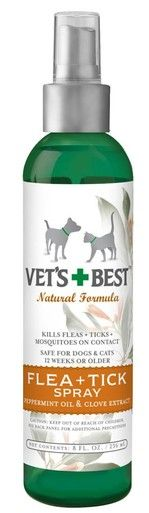 Vet's Best Flea and Tick Cat and Dog Peppermint Oil Kills Fleas Eggs Spray 8 oz