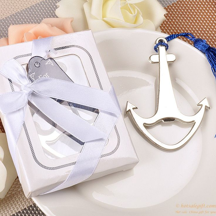 Silver metal anchor beer bottle opener wedding favors gift