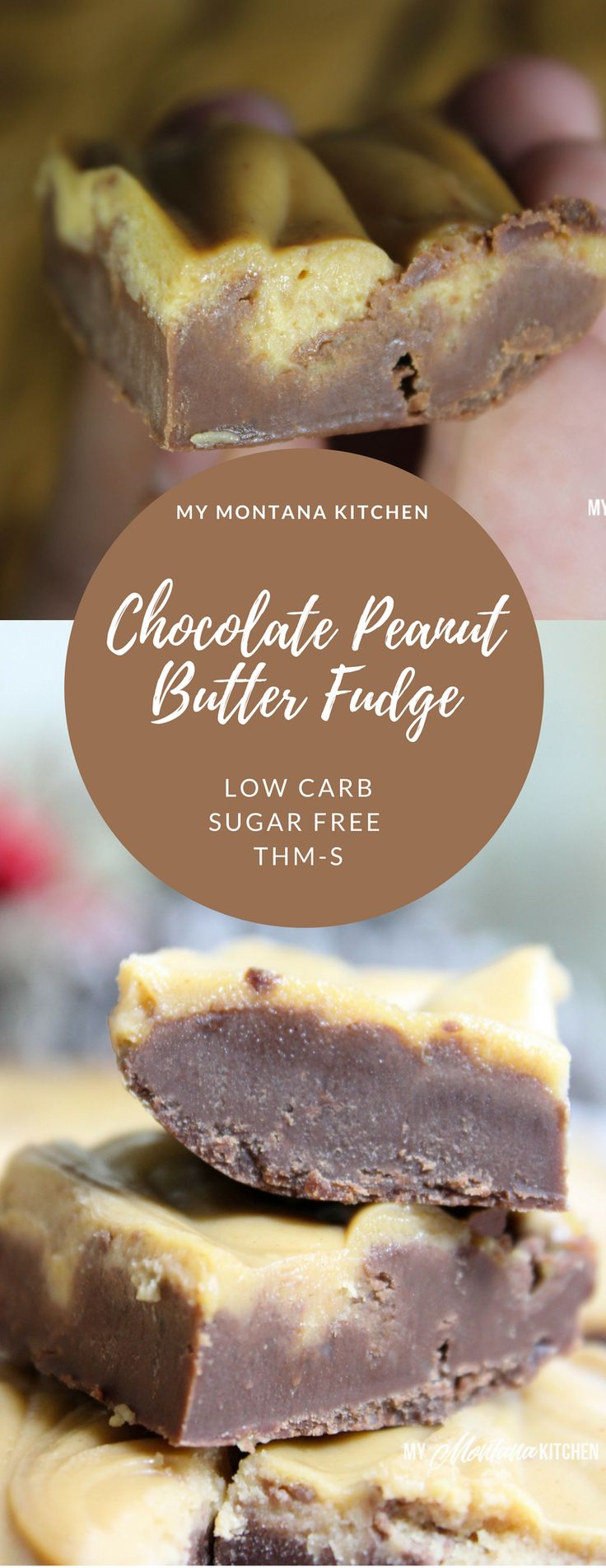 Chocolate Peanut Butter Fudge (Low Carb, Sugar Fre…