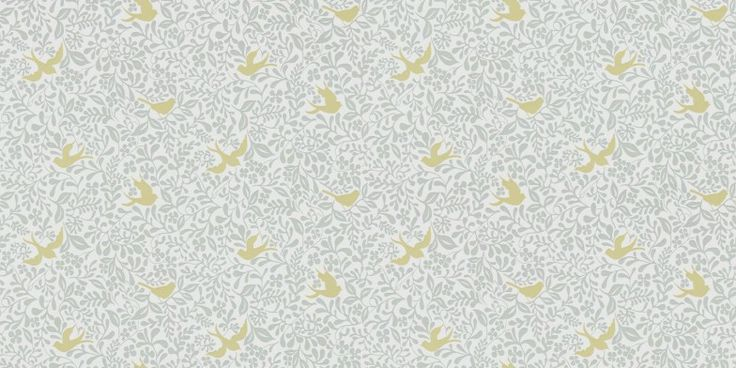 Larksong (214761) - Sanderson Wallpapers - A monochromatic forest print provides the natural backdrop, against which larks swoop and perch. Shown here in dove and honey. Other colour ways available. Please request a sample for true colour match.