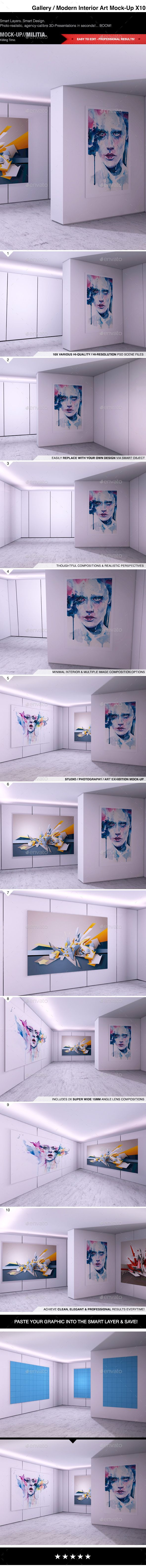 Modern Interior | Photography Art Gallery MockUp — Photoshop PSD #interior wall #clean • Available here → https://graphicriver.net/item/modern-interior-photography-art-gallery-mockup/10550809?ref=pxcr