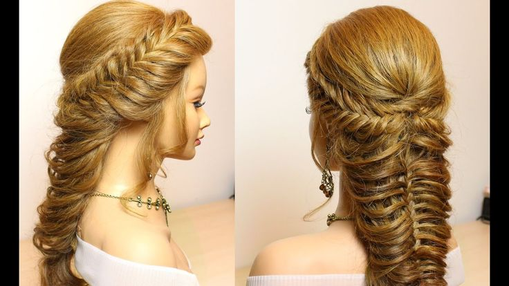 Wedding prom hairstyles for long hair. Braids tutorial