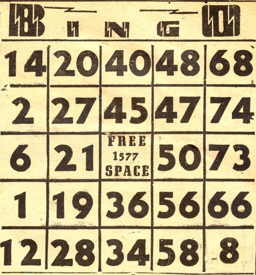 Vintage Bingo Card 62