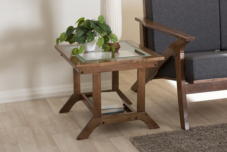 Baxton Studio Cayla Walnut Brown Wood Living Room Glass-Top End Table