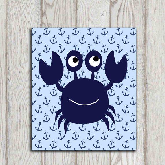 Crab Wall Art Crab Decor Navy Blue Beach Bathroom Wall Art