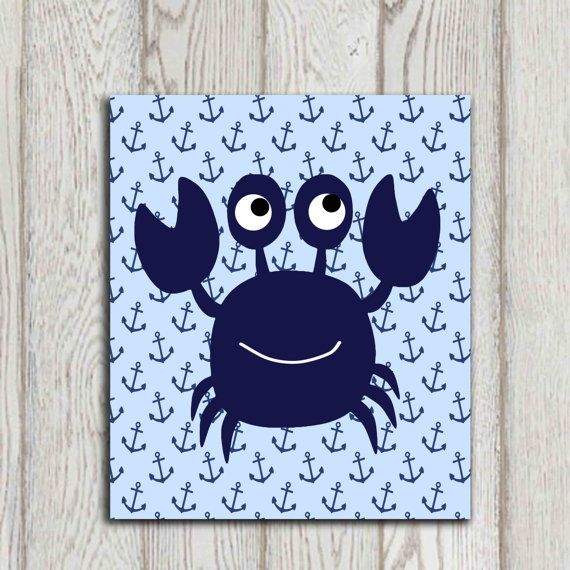 Navy Bathroom Wall Decor : Crab wall art decor navy blue beach bathroom