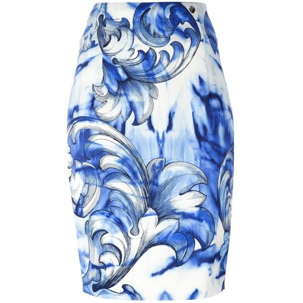 Versace Collection printed pencil skirt ($375) ❤ liked on Polyvore featuring skirts, white, versace, white skirt, versace skirt, pencil skirt and white knee length pencil skirt