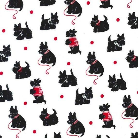 Scottie Bespoke Michael Miller Etsy In 2020 Michael Miller Fabric Scottie Dog Scottish Terrier
