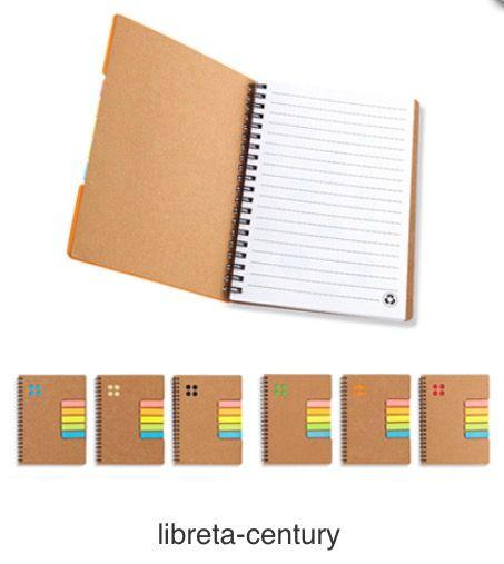 Libreta de Cartón con 5 Stickies Adhesivos. Producto Ecológico. Tipo de Producto: IMPORTADO Medidas: 13 cm x 17.5 cm. Área de Marca: 5 cm  Técnica de Marca: Tampografía. Colores Disponibles: Amarillo, Azul, Naranja, Negro, Rojo y Verde.