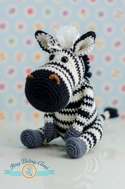 Zabu, The Zebra by ItsyBitsyAmi, crochet amigurumi toy