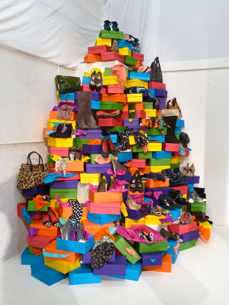 The art installation of shoe boxes.. Chaos & colour ...