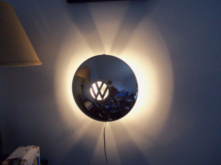 Early VW Smoothie Hubcap Wall Sconce Lamp by AircooledArtNY on Etsy https://www.etsy.com/listing/275812814/early-vw-smoothie-hubcap-wall-sconce