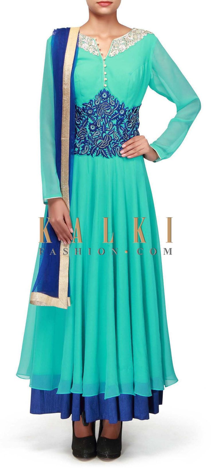 Buy Online from the link below. We ship worldwide (Free Shipping over US$100). http://www.kalkifashion.com/turq-anarkali-suit-embellished-in-zardosi-and-resham-embroidery-only-on-kalki.html