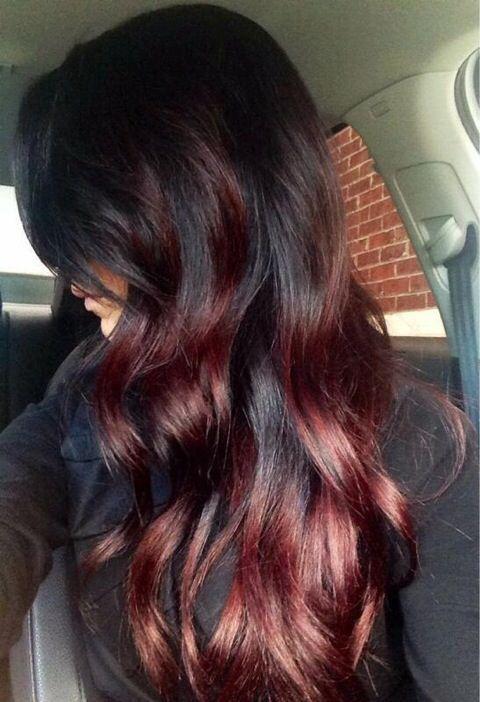 burgundy low lights in brown hair Red hair, red highlights, long hair, loose curls