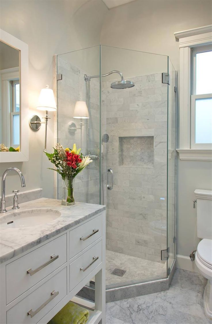 Calming White Marble Small Bathroom Design