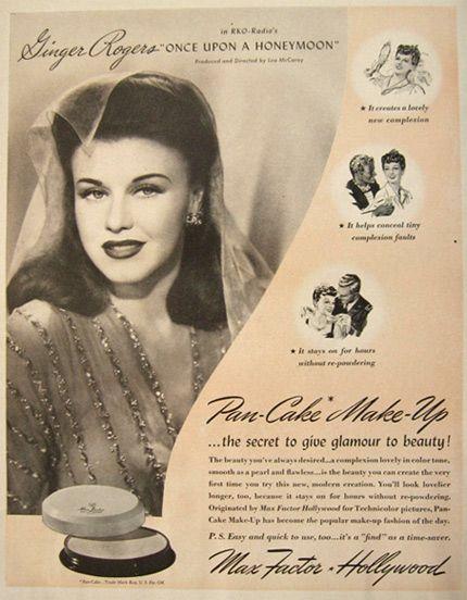 1942 Max Factor Pancake Make-Up Ad ~ Ginger Rogers