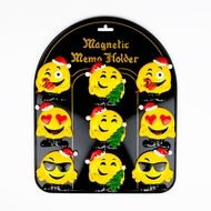 9-PC Christmas Happy Face Emoji Magnet Set w/ Metal Magnetic Board