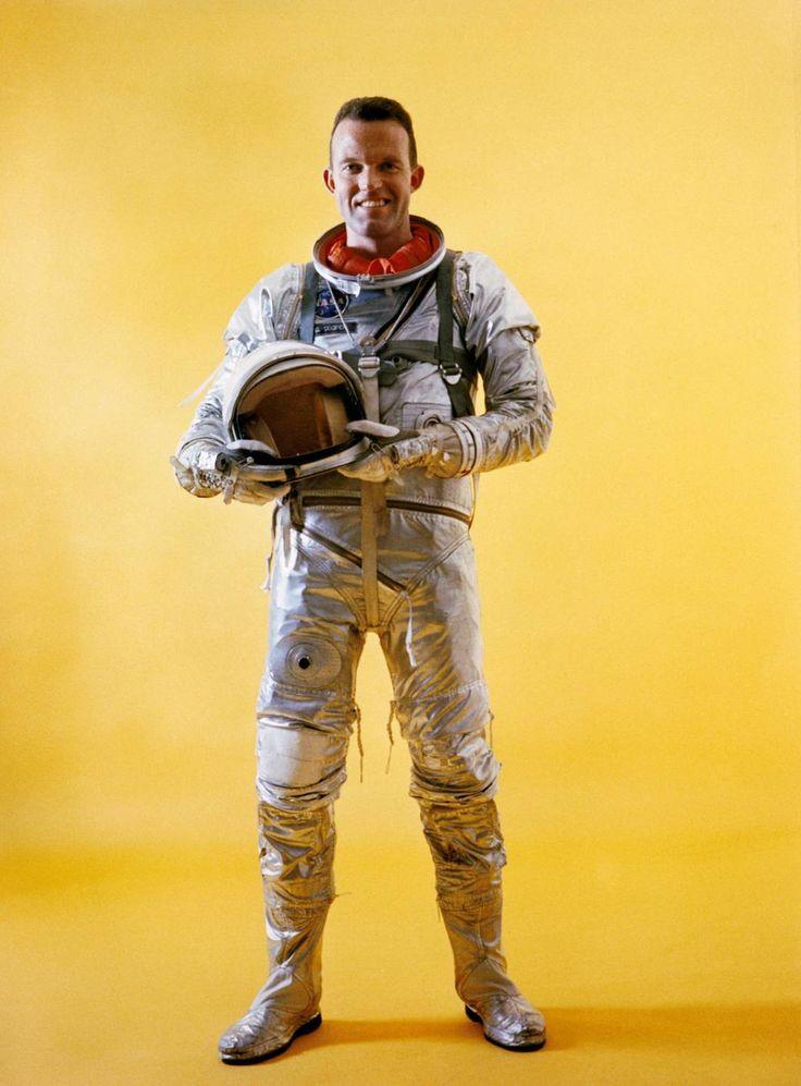May 1963 -Mercury astronaut L. Gordon Cooper Jr. is wearing a spacesuit during Mercury-Atlas 9 prelaunch activities.