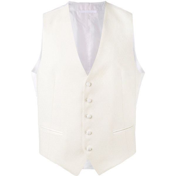 Tagliatore button-up waistcoat ($246) ❤ liked on Polyvore featuring men's fashion, men's clothing, men's outerwear, men's vests, white, mens button down sweater vest, mens button up sweater vest and mens white vest