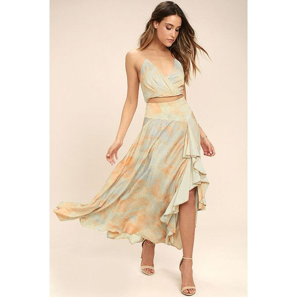 Free People Gardenia Blue and Orange Print Two-Piece Maxi Dress ($198) ❤ liked on Polyvore featuring dresses, orange, ruffle maxi skirt, maxi skirt, print maxi skirt, long ruffle skirt and beige maxi dress