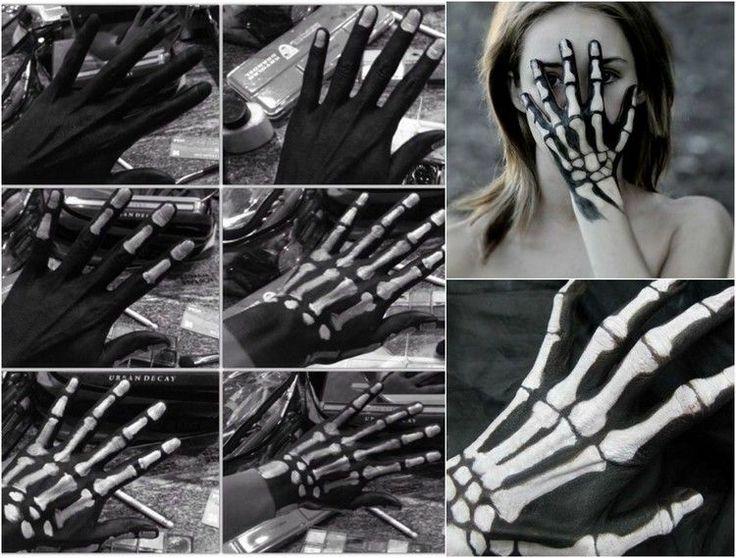 maquillage Halloween squelette d'une main