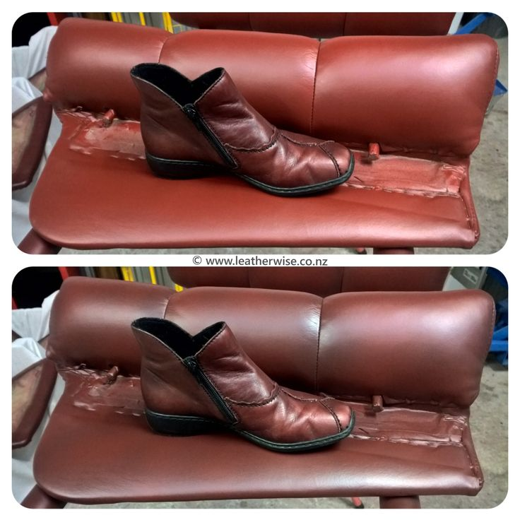 Recolouring a leather armchair to match a Reiker shoe supplied by the client.