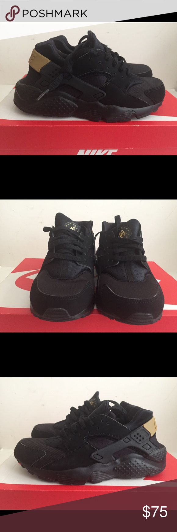 Nike Air huarache Run Black Gold size 6y Brand new with box kids size 6y or  women's size 7.5 No trades and the price is firm nike Shoes Athletic Shoes