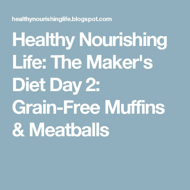 Healthy Nourishing Life: The Maker's Diet Day 2:  Grain-Free Muffins & Meatballs