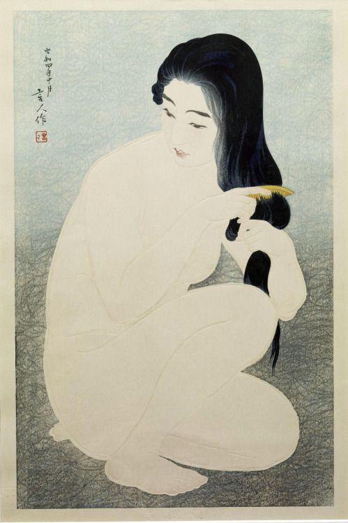 taishou-kun:  Torii Kotondo 鳥居言人 (1900-1976)Kamisuki髪隙 (Combing her hair) - Japan - 1929Source : The Walter Arts Museum