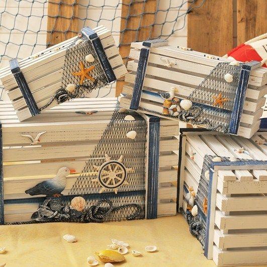Set Wooden Storage Box for Kids Room Decoration Nautical Jewelry Storage Box $218.22