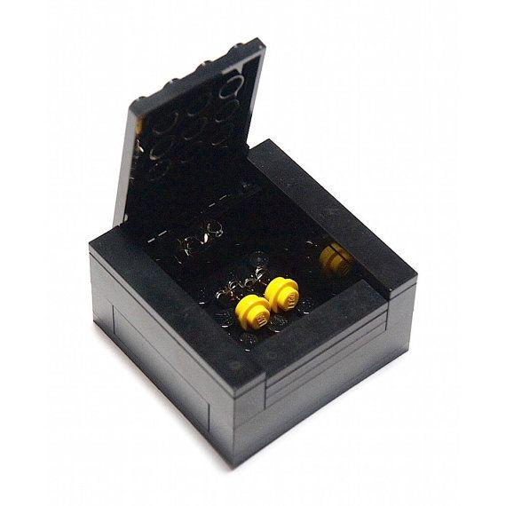 Orecchini LEGO LEGO nero scatola regalo / / orecchini Lego Lego contenitore di regalo / Lego romantico regalo / Lego borchie / Lego gioielli / gioielli Lego