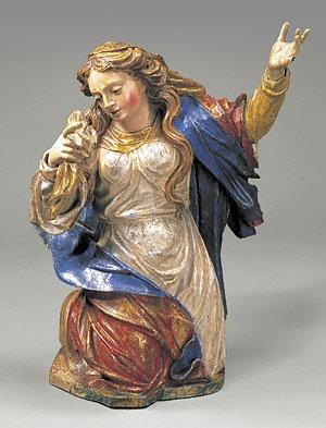 Francisco Xavier de Brito, Maria Madalena, século XVIII. Madeira policromada, 61 x 44 x 34 cm. Museu de Arte Sacra de São Paulo.