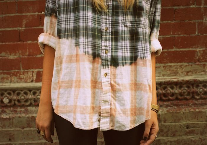 Love the look of flannel dipped half in bleach! Great DIY inspiration to give new life to an old flannel!