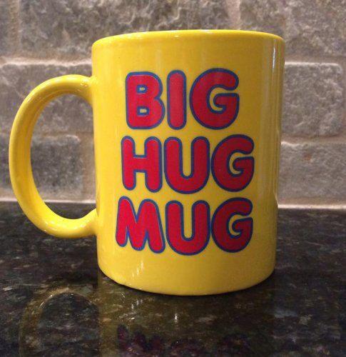 The Big Hug Mug. Retro Coffee Shop Font on a yellow mug. Dishwasher safe  Microwaveable  Wont Fade