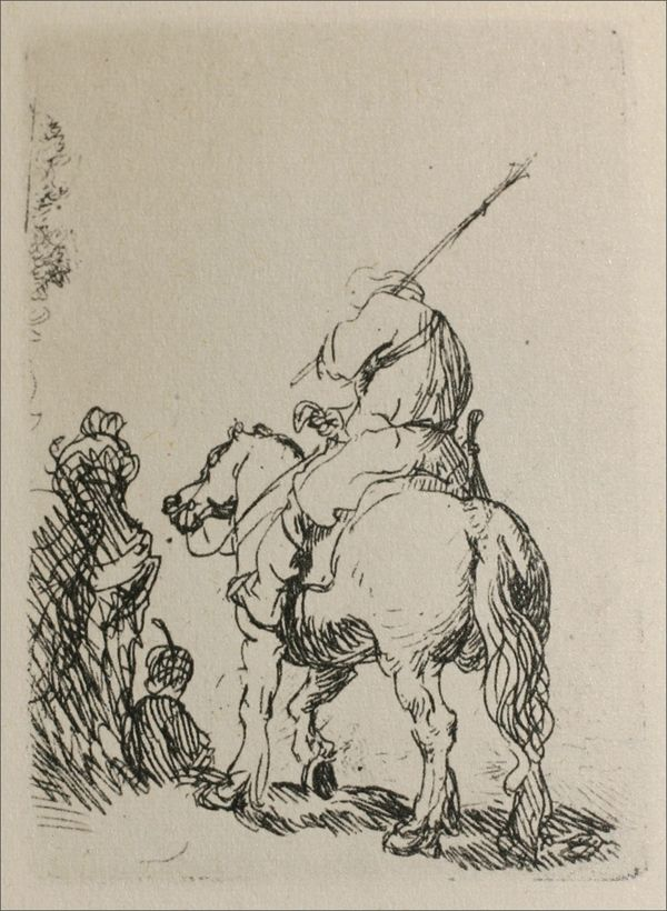 Rembrandt Sketch - A Man on Horse