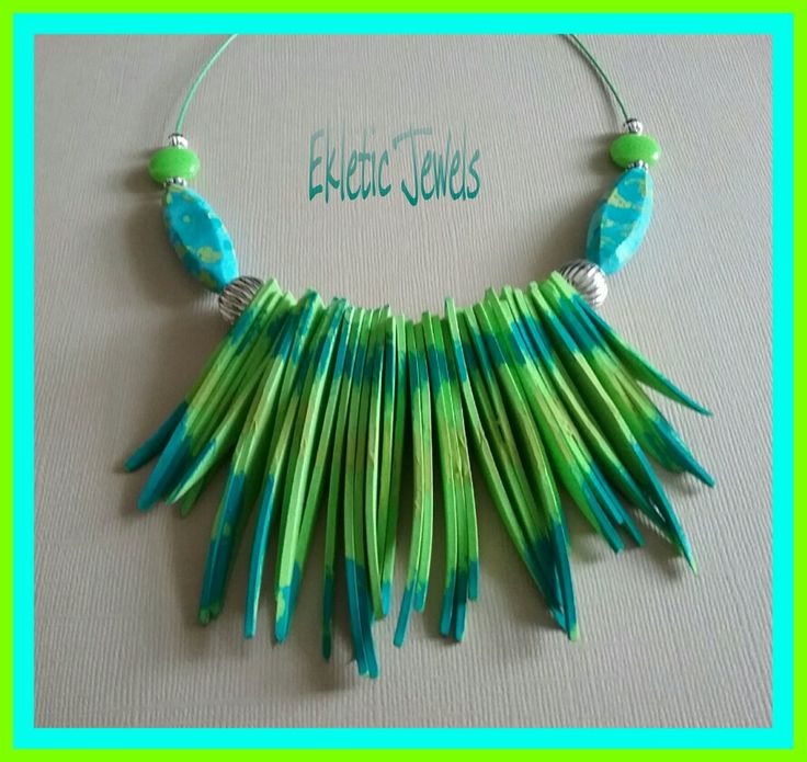 Exaggerated extravagant handmade necklace aqua turquoise and green