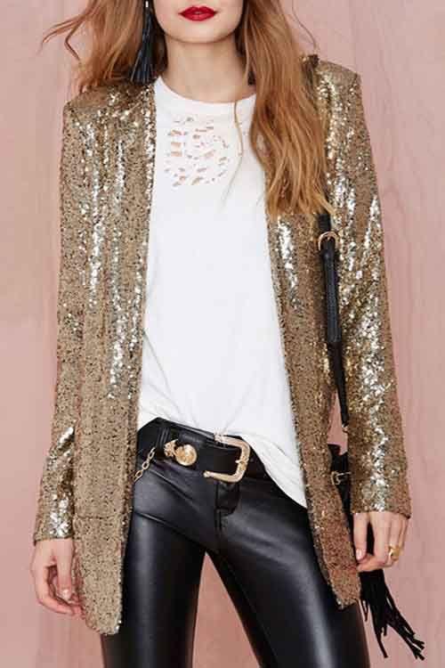 Turn-Down Collar Sequins Long Sleeve Blazer