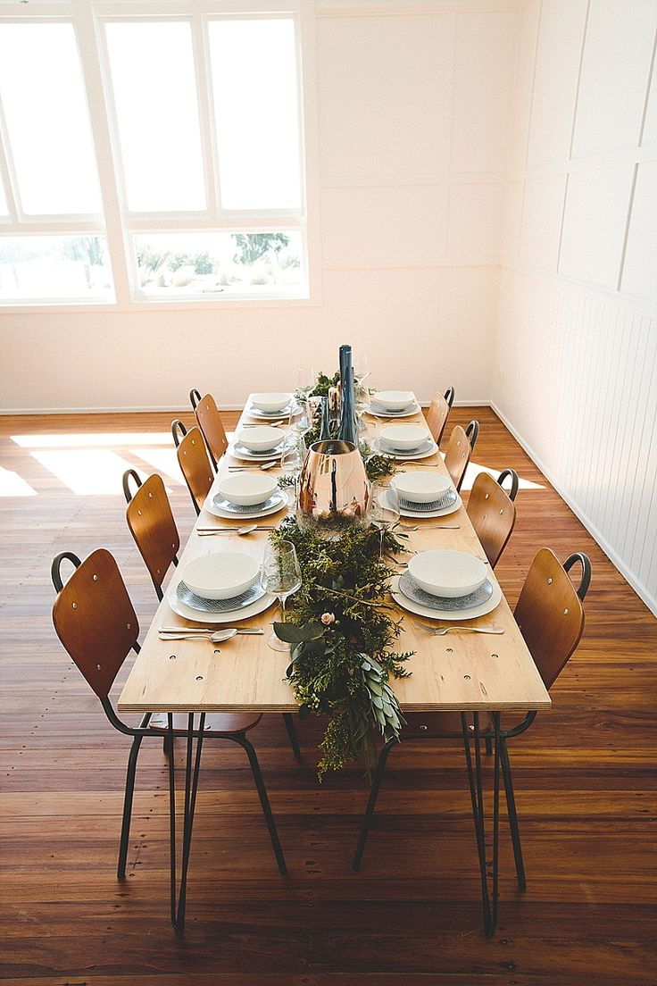 school house simple wedding table setting