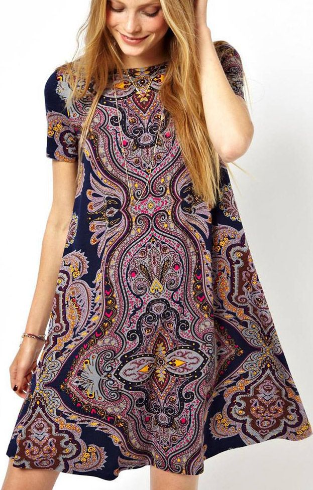 love this loose swing dress // great print