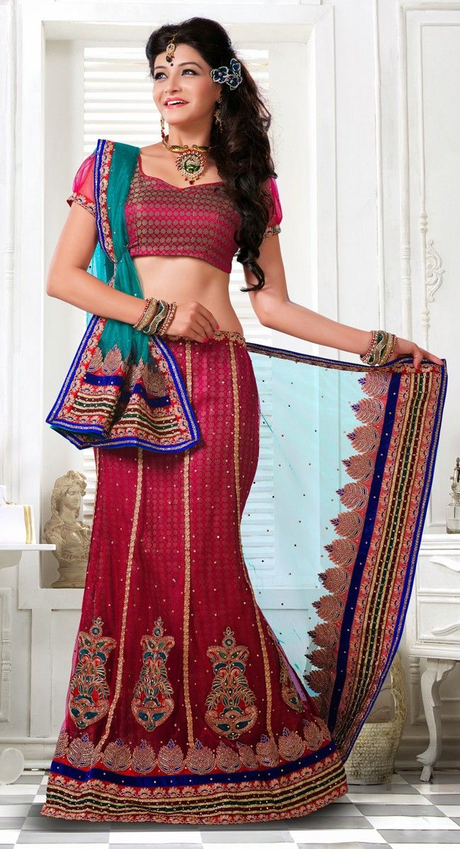 Supercool Dark Red Wine Color Net Lehenga #Choli