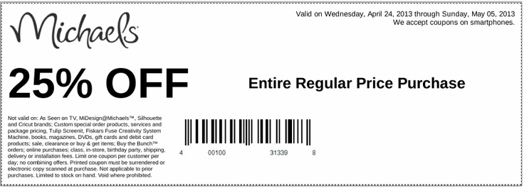 Michaels Printable Coupon to save 25% OFF of your total by May 05 in store only